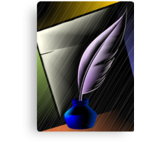 Quill with ink pot Canvas Print