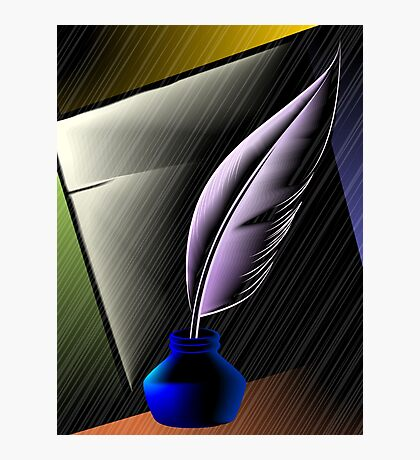 Quill with ink pot Photographic Print