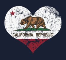 Vintage California State Flag Heart One Piece - Short Sleeve