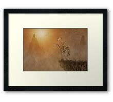 Two giraffes at  the high mountain Framed Print