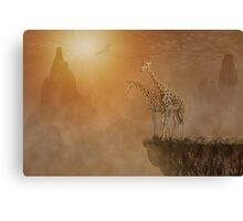 Two giraffes at  the high mountain Canvas Print