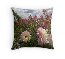 Among the flowers at Yalding Organic Farm Throw Pillow