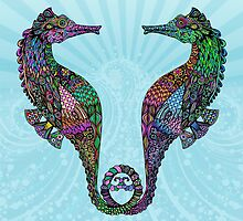 Electric Psychedelic Seahorses by Tammy Wetzel