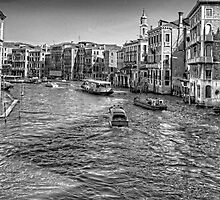 North from the Rialto Bridge - B&W by Tom Gomez