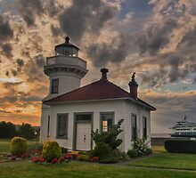 Mukilteo Lighthouse at Sunset by bngphoto