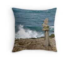 Inukshuk by the Shore, Brier Island Throw Pillow