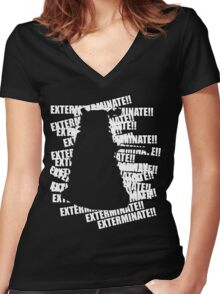 Exterminate V.3 Women's Fitted V-Neck T-Shirt