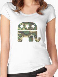 Camouflage Republican Elephant Women's Fitted Scoop T-Shirt