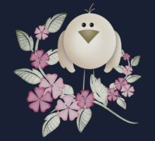 Cutie Bird .. perched among the flowers .. kids tee One Piece - Long Sleeve