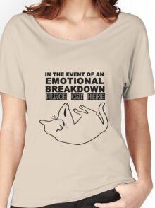 Emotional breakdown place cat here geek funny nerd Women's Relaxed Fit T-Shirt