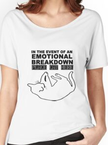 Emotional breakdown place cat here geek funny nerd Women's Relaxed Fit T-Shirt
