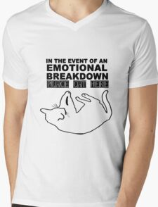 Emotional breakdown place cat here geek funny nerd Mens V-Neck T-Shirt
