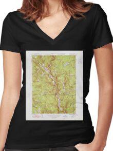 Massachusetts  USGS Historical Topo Map MA Tolland 352253 1948 31680 Women's Fitted V-Neck T-Shirt
