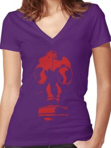 gasmask stencil red reversed Women's Fitted V-Neck T-Shirt