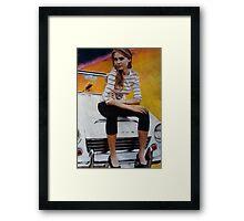 Girl on Yellow Planet Framed Print