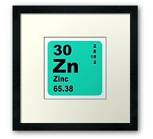 Zinc Periodic Table of Elements Framed Print