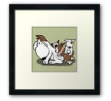 Bull Terrier Puppies with Mum Framed Print