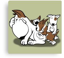 Bull Terrier Puppies with Mum Canvas Print