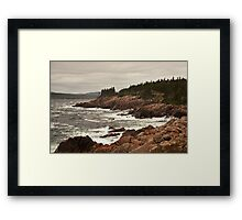 Raging wind and sea at Neil's Harbor, Cape Breton Framed Print