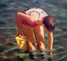 At the Beach, Girl in Water with Yellow Pail by Joyce Geleynse