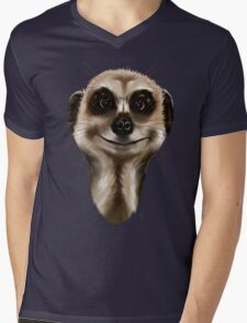 Meerkat face Mens V-Neck T-Shirt