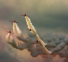 Red Arrows Smokescape by Sylvia Fresson