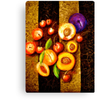 Still Life with, Cherries, Nectarines, Apricots, Peaches and One Plum Canvas Print