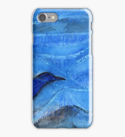 Bird Sailing above Blue Landscape iPhone Case/Skin