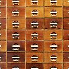 Vintage wooden drawers at the Royal Library in Copenhagen, DENMARK by Bruno Beach