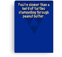 You're slower than a herd of turtles stampeding through peanut butter. Canvas Print