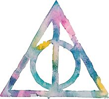 Watercolor Deathly Hallows (black) by PeonyPaints