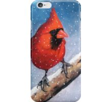 Red Cardinal Bird in the Snow iPhone Case/Skin