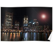 Night view on Boston Financial District  Poster