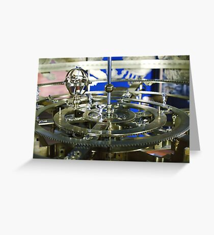 Golden metal cogwheels inside clockwork Greeting Card