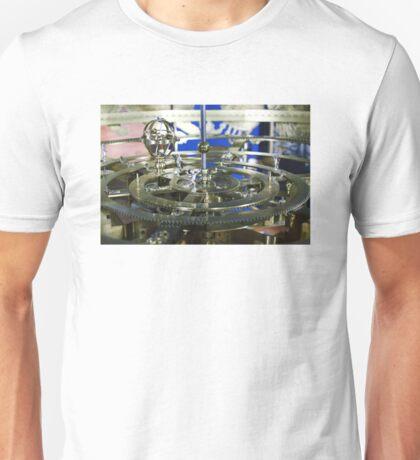 Golden metal cogwheels inside clockwork Unisex T-Shirt