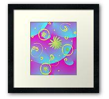 Retro Floral Bubbles Framed Print