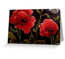 Poppies on Black 1 Greeting Card