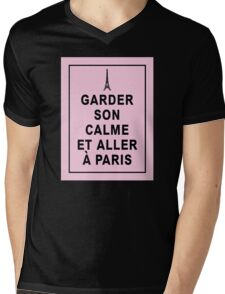 Keep Calm and Visit Paris   in French Mens V-Neck T-Shirt