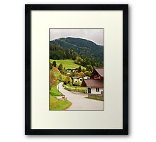 Houses and mountains in Wagrain, Austria Framed Print