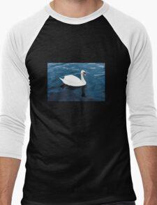 White swan on blue lake Men's Baseball ¾ T-Shirt