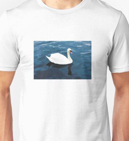 White swan on blue lake Unisex T-Shirt