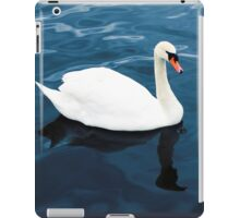 White swan on blue lake iPad Case/Skin
