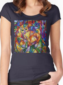Cubist Cats At Dusk Women's Fitted Scoop T-Shirt