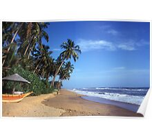 Sandy beach and palm trees in Sri Lanka Poster