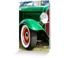 Green Hot Rod Greeting Card