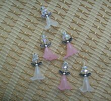 Pink and white pendant angels/charms by anaisnais