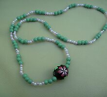 Handmade necklace with large central bead  by anaisnais