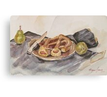Pear and Pie Still Life Canvas Print