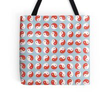 Yin Yang Art Pattern Decor Silver Blue Gray Red White Tote Bag