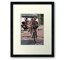 Two Girls on Bicycles Framed Print
